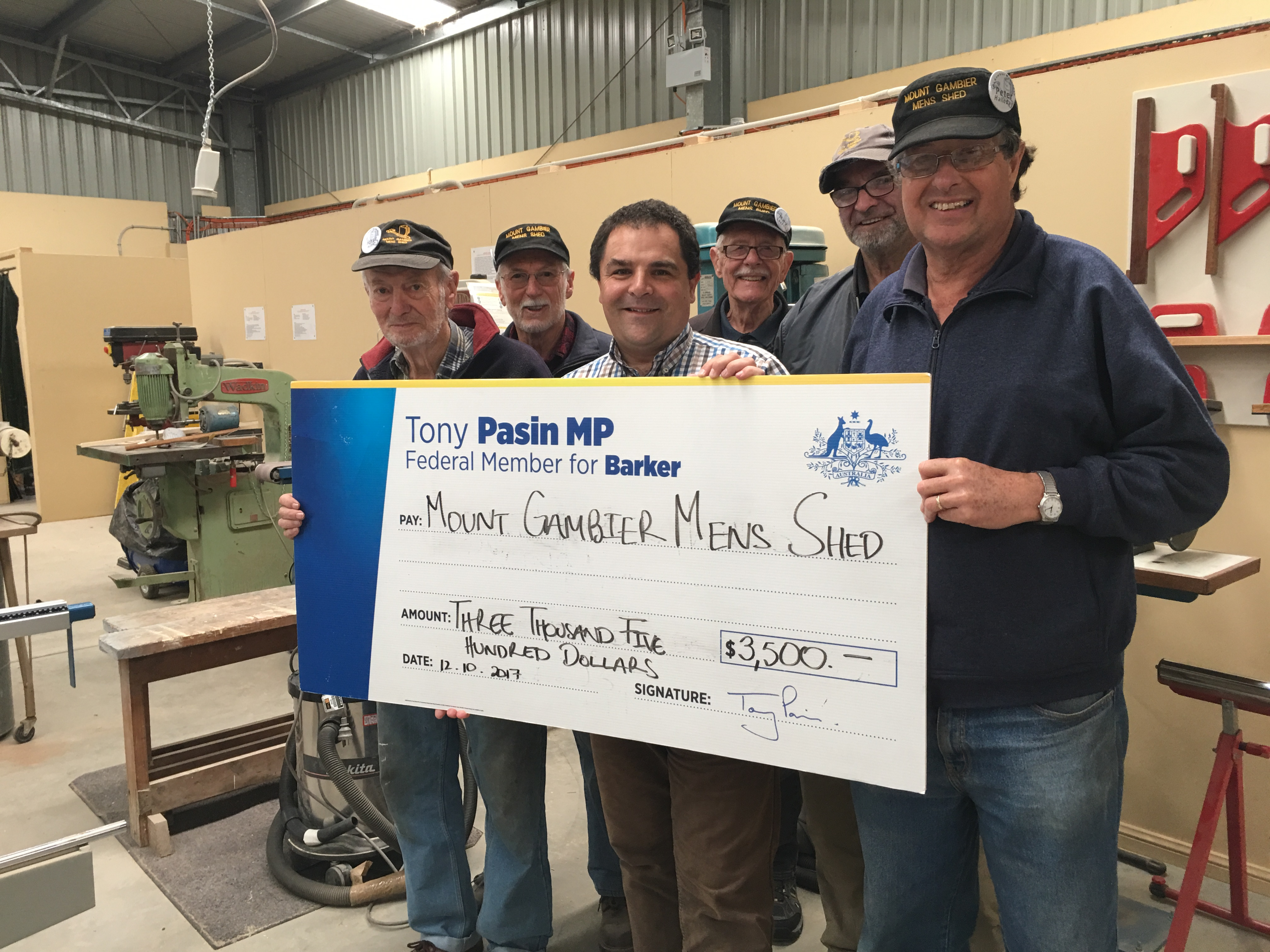New funding grant for Mount Gambier Men's Shed